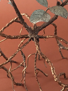 finished bronze and steel roots (2016)