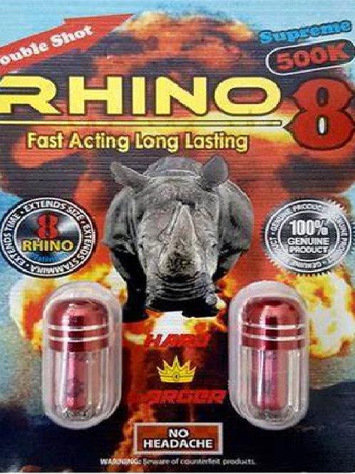 Rhino 8 Supreme 500k Double Shot Pills 2 Pack