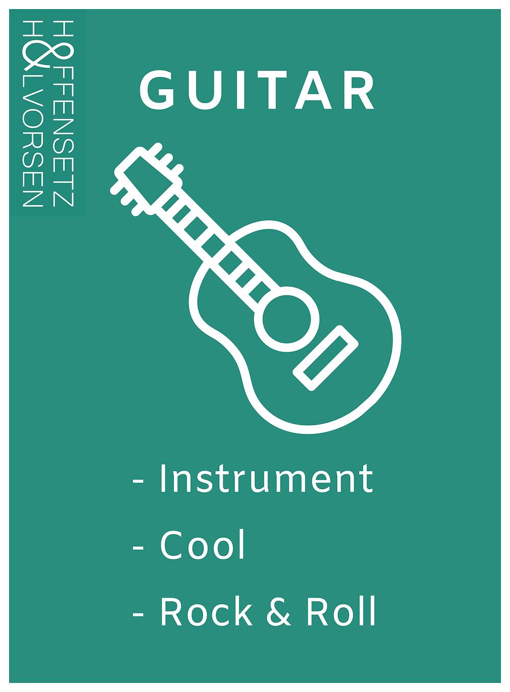 Inspirationskort af en rockguitar til brug i arbejdslystworkshops og andre kreative sammenhænge