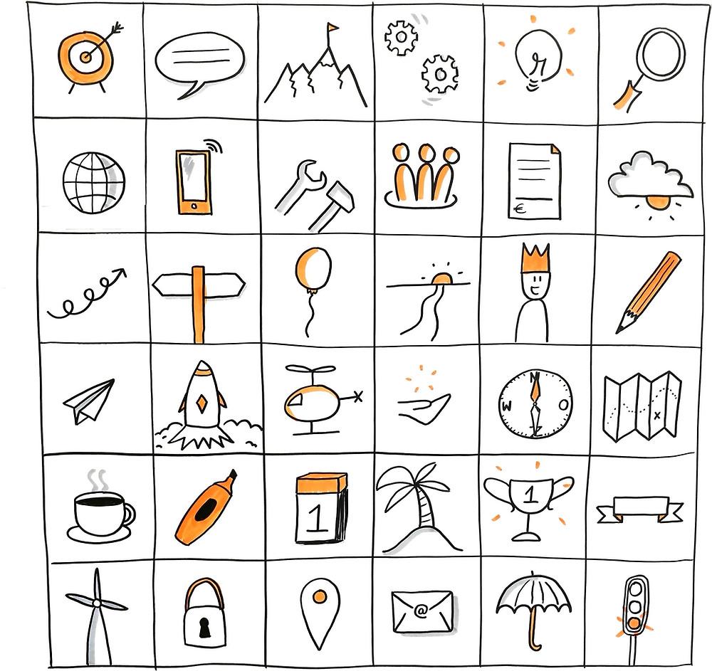 36 iconen voor zakelijk tekenen