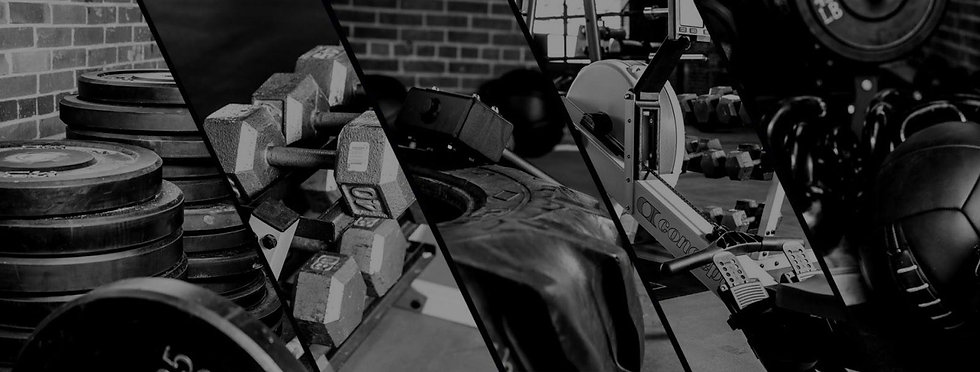 Gym Equipment, dumbbells, tires, rowers.