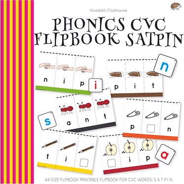 Phonics CVC Flip book SATPIN