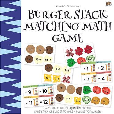 Burger Stack Matching Math Game