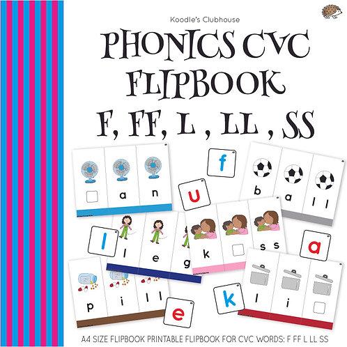 Phonics CVC flipbook F, FF, L, LL, SS