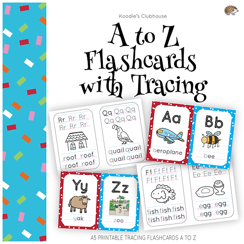 A to Z flashcards with tracing