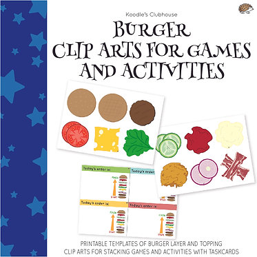 Burger Clip arts for Games and Activities