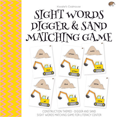 Sight Words Digger and Sand Matching Game