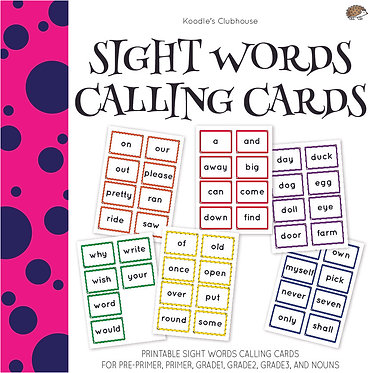 Sight Words Calling Cards