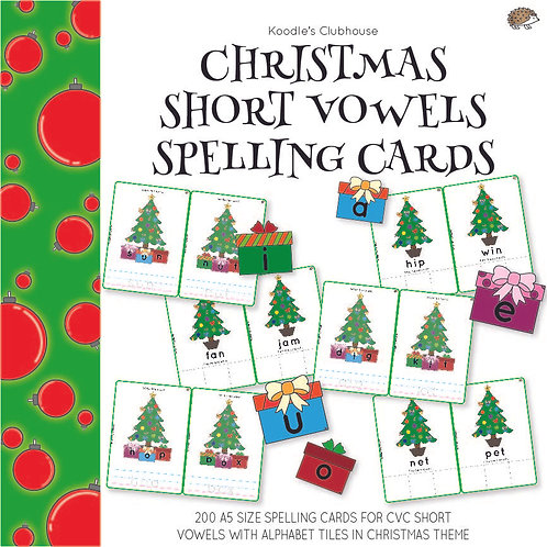 Christmas Short Vowels Spelling Cards