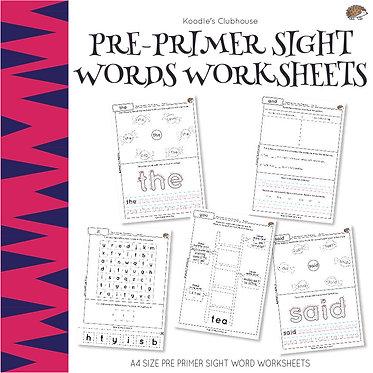 Pre-Primer Sight Words Worksheets