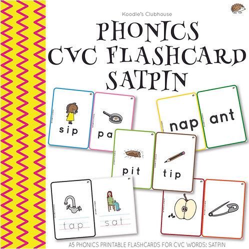 Phonics CVC Words Flashcards SATPIN