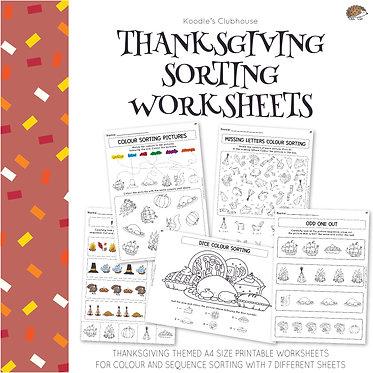 Thanksgiving Sorting Worksheets