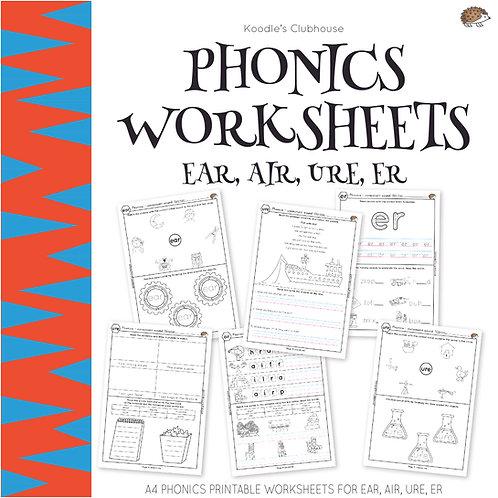 Phonics EAR, AIR, URE, ER Worksheets