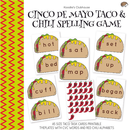 Cinco De Mayo Taco and Chili CVC Spelling Cards