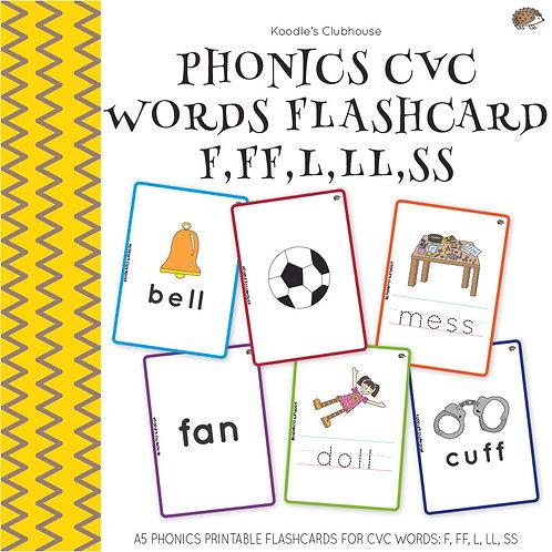 Phonics CVC Words Flashcard F, FF, L, LL, SS
