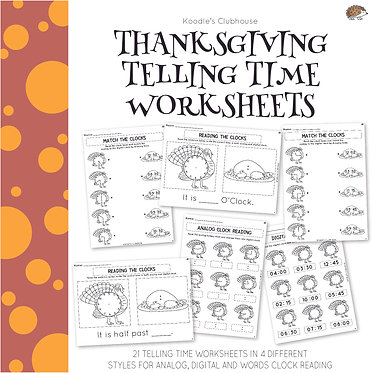 Thanksgiving Telling Time Worksheets