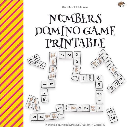 Number Dominoes Game Printable
