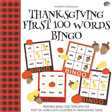 Thanksgiving First 100 Words Bingo