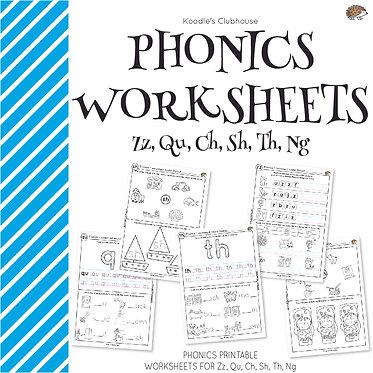 Phonics ZZ, QU, CH, SH, TH, NG Worksheets