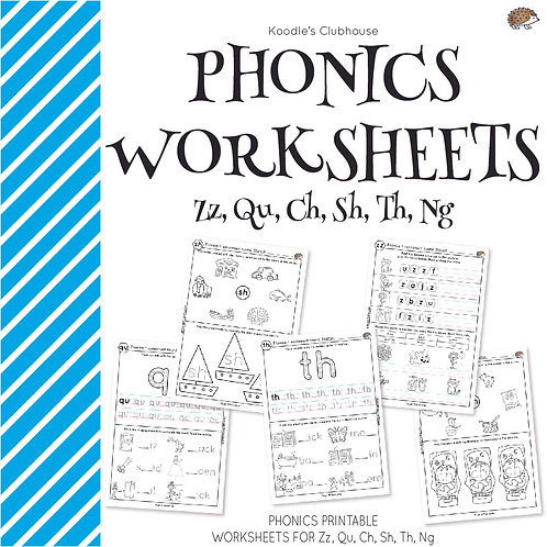 Phonics ZZ, QU, CH, SH, TH, NG Worksheets