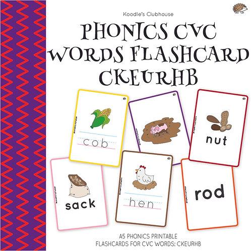 Phonics CVC Words Flashcard CKEURHB