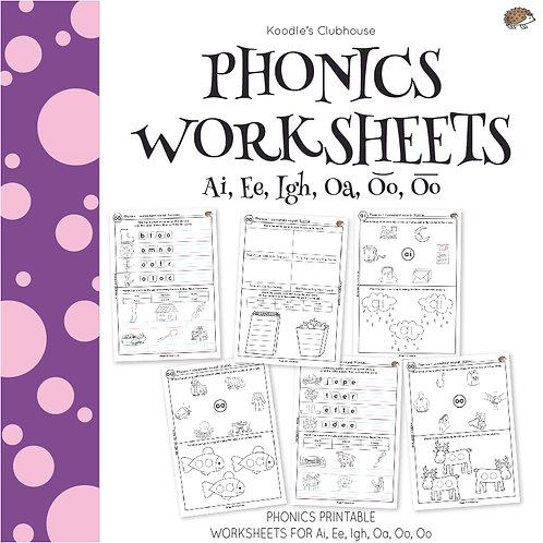 Phonics Ai, Ee, Igh, Oa, Oo, Oo Worksheets