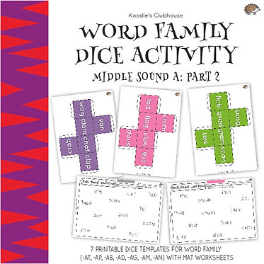 Word Family Dice Activity (middle sound a pt.2)