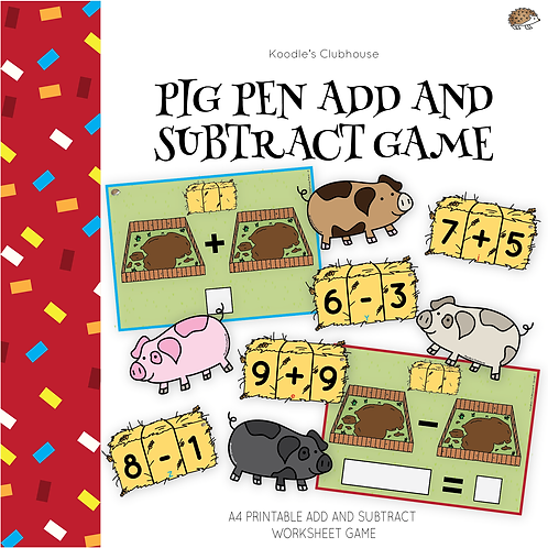 Chinese New Year Add and Subtract Game (pig theme)
