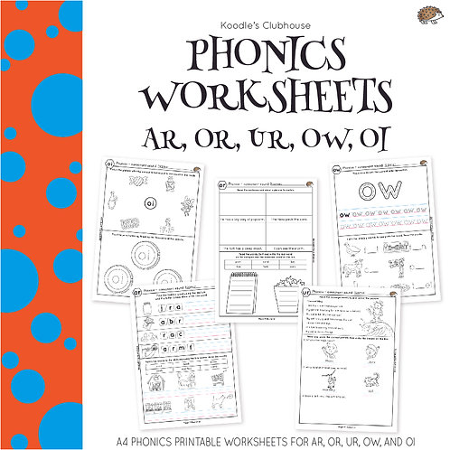 Phonics Ar, Or, Ur, Ow, Oi Worksheets