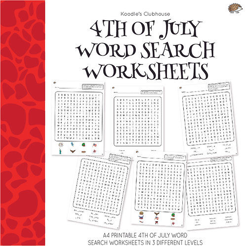 4th of July Word Search Worksheets