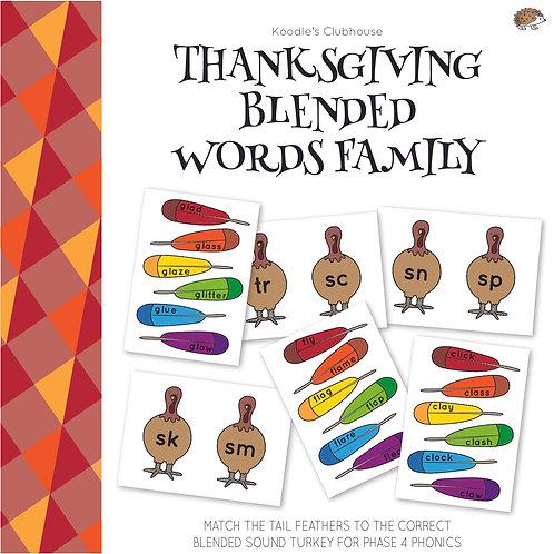 Thanksgiving Blended Word Family Game