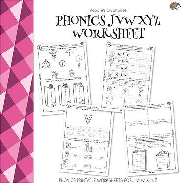 Phonics JVWXYZ Worksheets