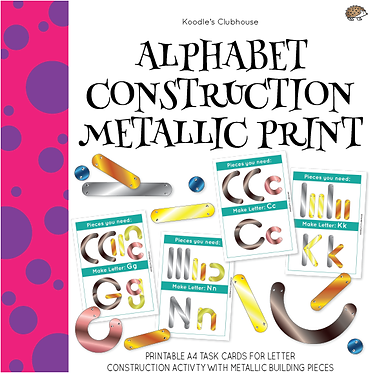 Alphabet Construction Metallic Print