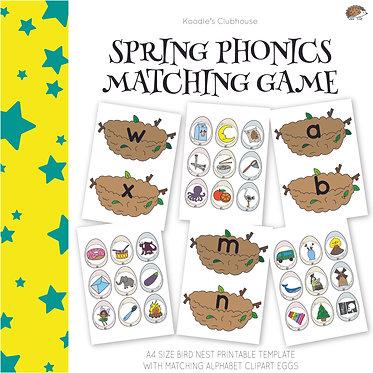 Spring Bird Nest Phonics Matching Game