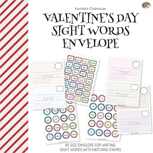 Valentine's Day Sight Words Envelope