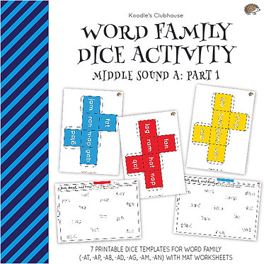 Word Family Dice Activity (middle sound a pt.1)