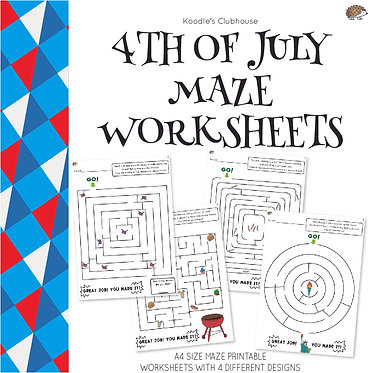 4th of July Maze Worksheets
