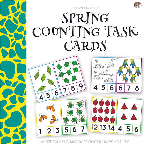 Spring Math Counting Task Cards