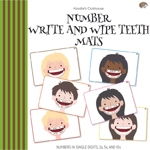 Numbers Write and Wipe Teeth Mats