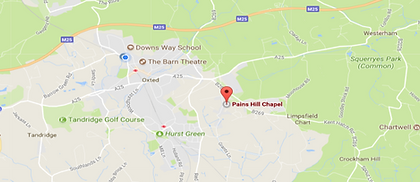 Pains Hill Chapel on a map.