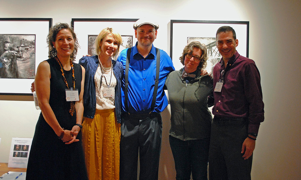 From left to right: Lisa Zerkle, Kathie Collins, Greg Banks, Gabrielle Calvocoressi, Paul Reali