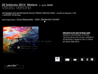 22 febbraio 2014 Sabato ore 20:00 > vernissage and performance live by Vittorio Vertone Artist -
