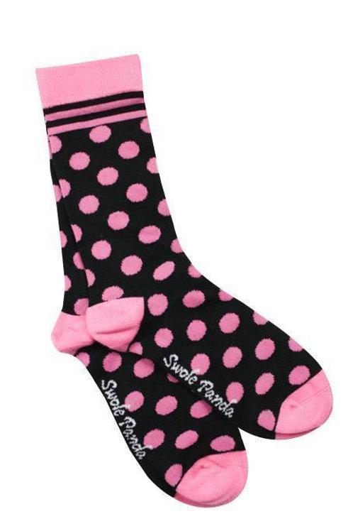 Swole Panda Ladies Bamboo Socks -Black & Pink Polka Dots