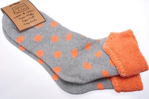 Jess & Lou Cosy Cuff Socks - Orange