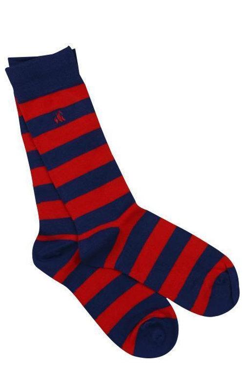 Swole Panda Mens Bamboo Socks - Classic Red Stripe
