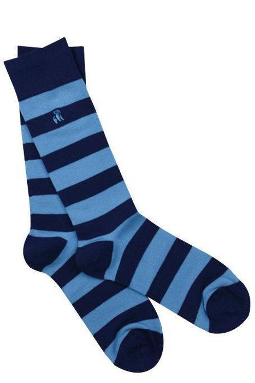 Swole Panda Mens Bamboo Socks - Royal Blue Stripe