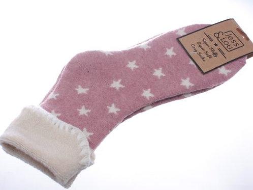 Jess & Lou Cosy Cuff Socks - PINK