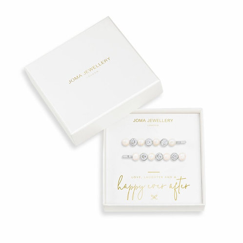 PEARL AND CRYSTAL HAIR  SLIDES - HAPPY EVER AFTER BRIDAL JE