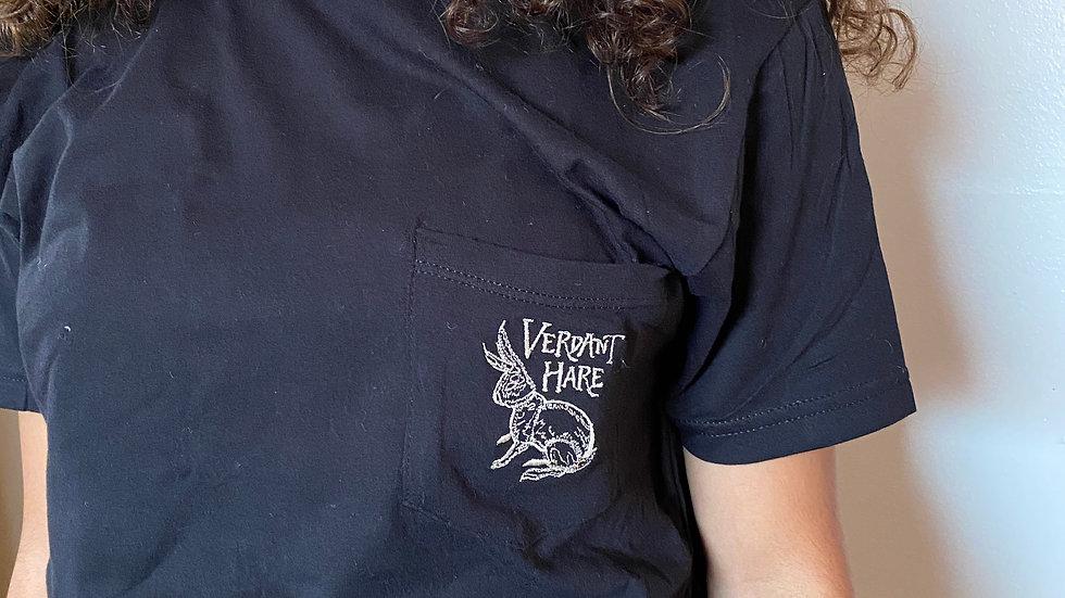 Embroidered Pocket Tee- Black