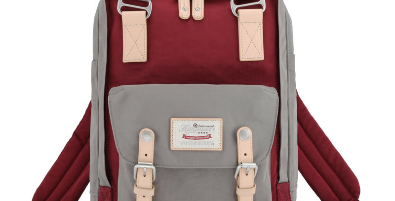 "Himawari Buttercup 14"" Laptop Backpack(HM188L-39)-Khaki Gray/WineRed"